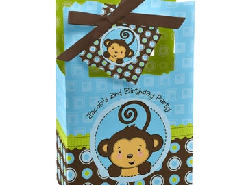Monkey Boy Favor Boxes - Custom Baby Shower and Birthday Party Supplies - Set of 12