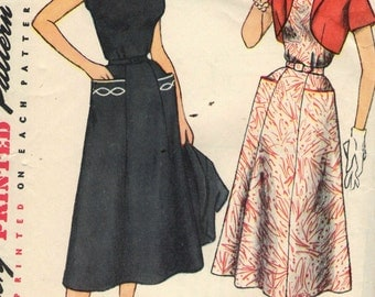Vintage 1950s Simplicity Sewing Pattern 4651 - Dress and Jacket, transfer included size 16 bust 34