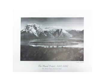 Ansel adams mt moran teton national park the mural for Ansel adams mural project posters
