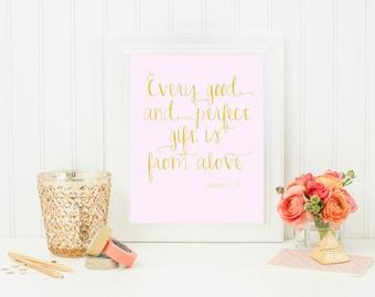 printable 8x10 pink scripture print bible verse baby shower gift
