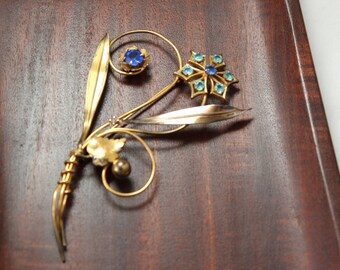 Art Deco Gold Filled Flower Pin with Blue Paste Stones