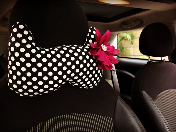 Cat Meow Polka Dots w/ Chiffon Flower Car Automotive Seat Neck Support Pillow Headrest Cushion, car accessories decors