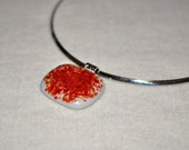 White and red, burnt orange Fused Glass Necklace, Fused Glass Pendant, choker
