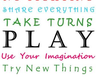 Play Room Rules Print|8x10|Wall Art