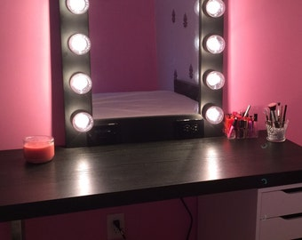Vanity Makeup Mirror With Lights Available Built In Digital LED Dimmer And P