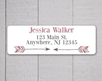 Arrow Address Labels, Return Address Labels, Arrow Address Label, Return Address Sticker, Mauve Peach and Grey Address Stickers  (#322-5)