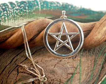 Large Pentacle ~ Star ~ Wicca Pentagram ~ Sterling Silver Pendant