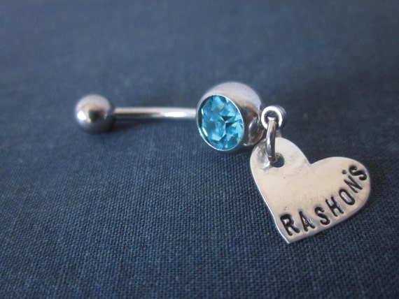 Personalized belly button ring personalized with name or word