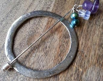 Amethyst Round Shawl Pin