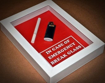 Gift for SMOKER Husband, Wife, Men, Women, Gift for Boyfriend, Girlfriend, Valentine -In Case of Emergency Break Glass (Cigarette & Lighter)