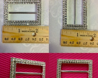 Rectangle Rhinestone Buckle,  Silver Slider Buckle,Made in Czech Republic.