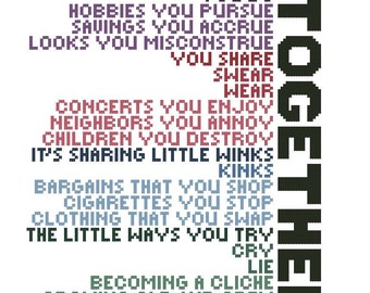 Little Things Lyrics from Sondheim's Company, cross-stitch pattern download