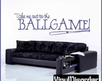 Take me out to the Ballgame - Vinyl Wall Decal - Wall Quotes - Vinyl Sticker - Sp010TakemevET