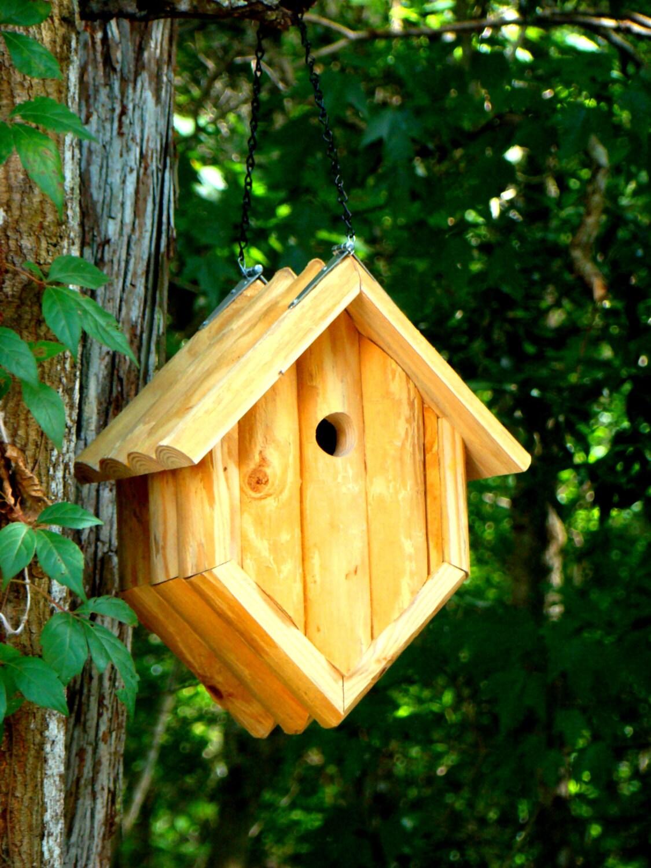 Rustic Pine Log Hanging Birdhouse Use As By Woodbirdfeederfrenzy