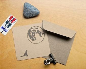 Kaart en envelop, hond, volle maan, note card with envelope, dog, full moon, Postkarte mit Briefumschlag, hund, Vollmond