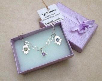 Silver Hamsa Bracelet , Sterling silver Hand Bracelet , David Star bracelet ,  Gems Hamsa Bracelet , Bat Mitzvah Gift , Judaica gift