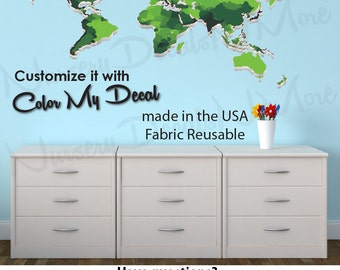 Green World Map Decal, Childrens World Map Stickers, Map Wall Stickers (WorldmapExtruded_Green_Large)