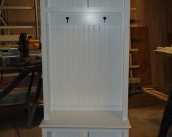 "34"" Wide Beadboard Hall Tree with 2 upper & lower Storage Cubbies - Entryway Furniture - Storage Locker - Coat Rack - Mudroom - Cubby"