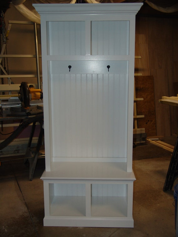 34 wide beadboard hall tree with 2 upper lower storage for Hallway cubbies