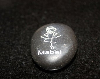 Personalized Stick Figure Ballarina Keepsake Engraved Stone