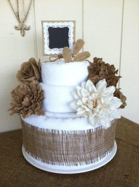 Burlap Cotton Bath Towel Cake 2 Tier For Bridal Shower