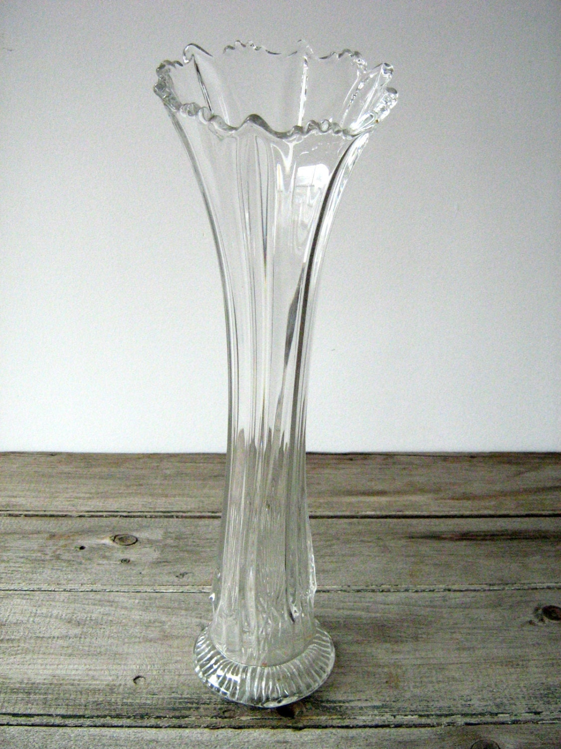 Antique Depression Glass Vase Tall Clear Glass Vase