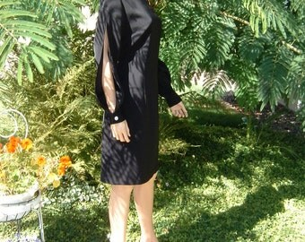 80s Made in USA HABITS Fitted Black Polyester Short Dress Women's Size 12