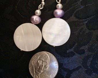 Lavender Freshwater Pearl and  Mother-of-Pearl dangle Earrings