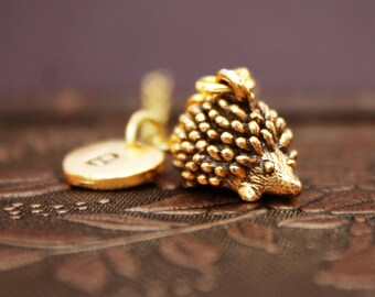 Gold Hedgehog Necklace, Initial Necklace, Animal Necklace, Animal Jewelry, Monogram Necklace, Hedgehog Charm Necklace, Gold Necklace