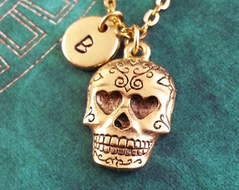 Sugar Skull Necklace Day Of The Dead Necklace Personalized Jewelry Dia de los Muertos Necklace Gold Sugar Skull Charm Necklace Halloween