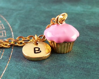 Pink Cupcake Necklace, Personalized Necklace, Cupcake Pendant, Custom Necklace, Cupcake Jewelry, Monogram Necklace, Cute Gold Charm Necklace