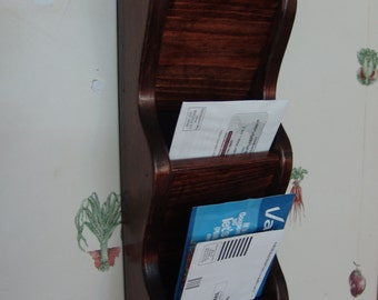 Wall Mail Organizer Letter Rack 3 pocket Handcrafted Wood Holder Sorter, other sizes & stains avail, Brown Mahogany