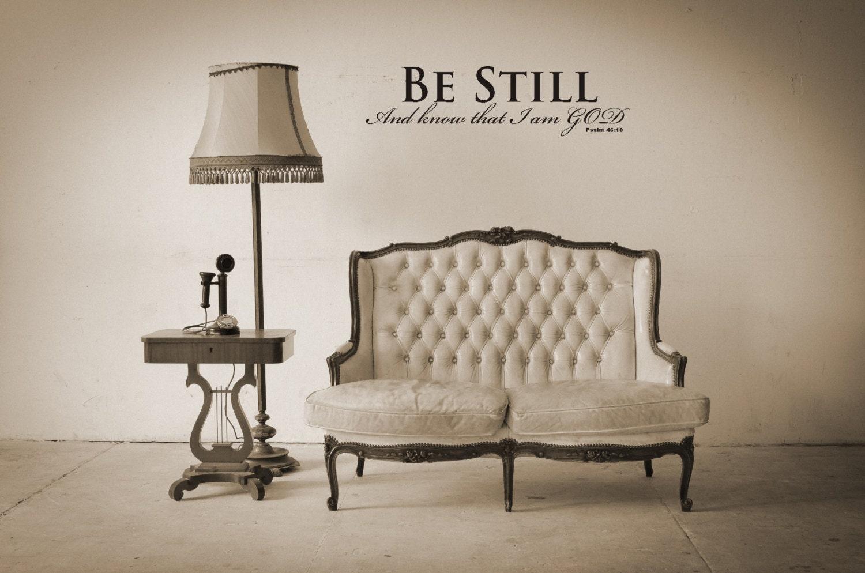 bible verse wall decals psalm 46 10 vinyl wall sticker. Black Bedroom Furniture Sets. Home Design Ideas