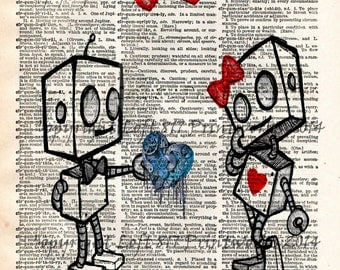 Robot love, cute robot art print, vintage dictionary page art