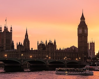 London Sunset, England, Big Ben, UK Parliament, River Thames, Westminster Bridge, Panorama, Pink - Travel Photography, Print, Wall Art