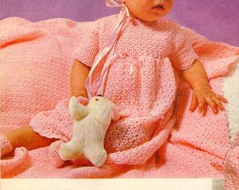 Vintage Crochet Baby's Dress/Jacket/Bonnet/Bootees/Shawl Pattern