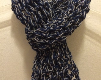 Navy and Silver Crocheted Scarf