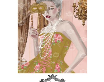 La question c'est Voulez- Vous? A WickedlyLovely Marie Antoinette inspired, blank, original Art greeting card,