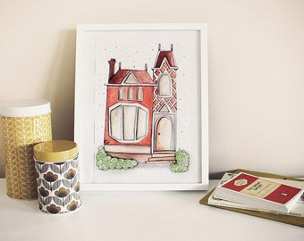 The Red Victorian House, Illustrated Art Print - A4