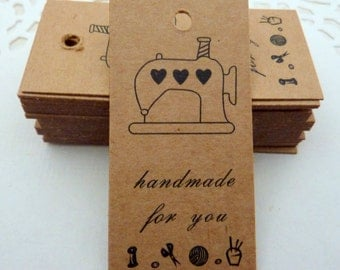 25 Brown Kraft Paper with Printed 'Handamde for you' Gift Tags Price Tag Crafts 5.8 x 2.1cm