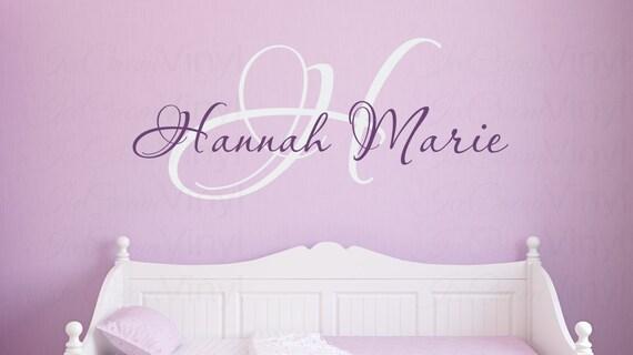Name Wall Decal for Baby Girl Elegant Monogram Playroom Girls Boys Bedroom Children Decor
