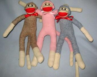 Classic Sock Monkey  17 inches tall.