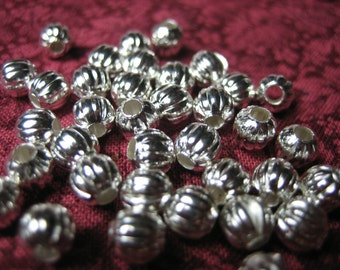 40 Big Fluted Silver Pumpkin Spacers. 5mm. Gathered Look. Renaissance Style. Holes 1.5mm.  USPS Ship Rates~ from Oregon