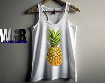 Pineapple womans tank top white