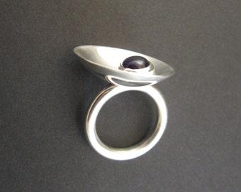 Amethyst silver ring, modern statement ring, size 6, gemstone cabochon, sterling silver, mirror shine, birthstone February