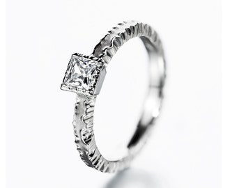 Unique princess diamond engagement ring,  forged diamond ring, solitaire ring, unique wedding ring, modern engagement ring, square diamond