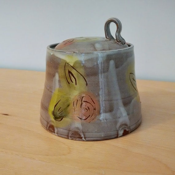 Floral Pink  Jar – Earthenware – Tea jar – Coffee jar - Container – Peach –  SperlazzaPottery