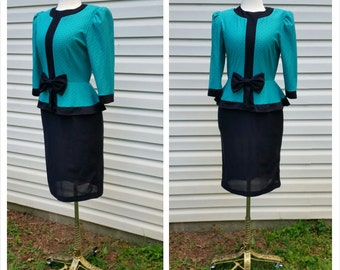80s Peplum Dress Teal and Black Polka Dot with Bow Long Sleeve Suit S/M