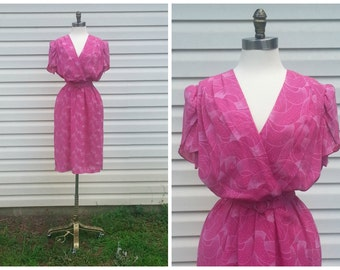 70s Pink Dress Alison Peters Belted Dress with Flouncy Flutter Sleeves Sz S-M
