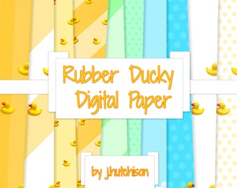 Commercial Use Instant Download  Rubber Duck Digital Paper - 10 papers